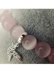 Bransoletka z koralików - Koliber - Różowa - Kamienie Kocie oko - Zawieszka srebro 925