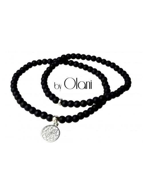Bransoletki z koralików - Czarna - Mandala - Kamienie Black Stone mat - Zawieszka srebro 925